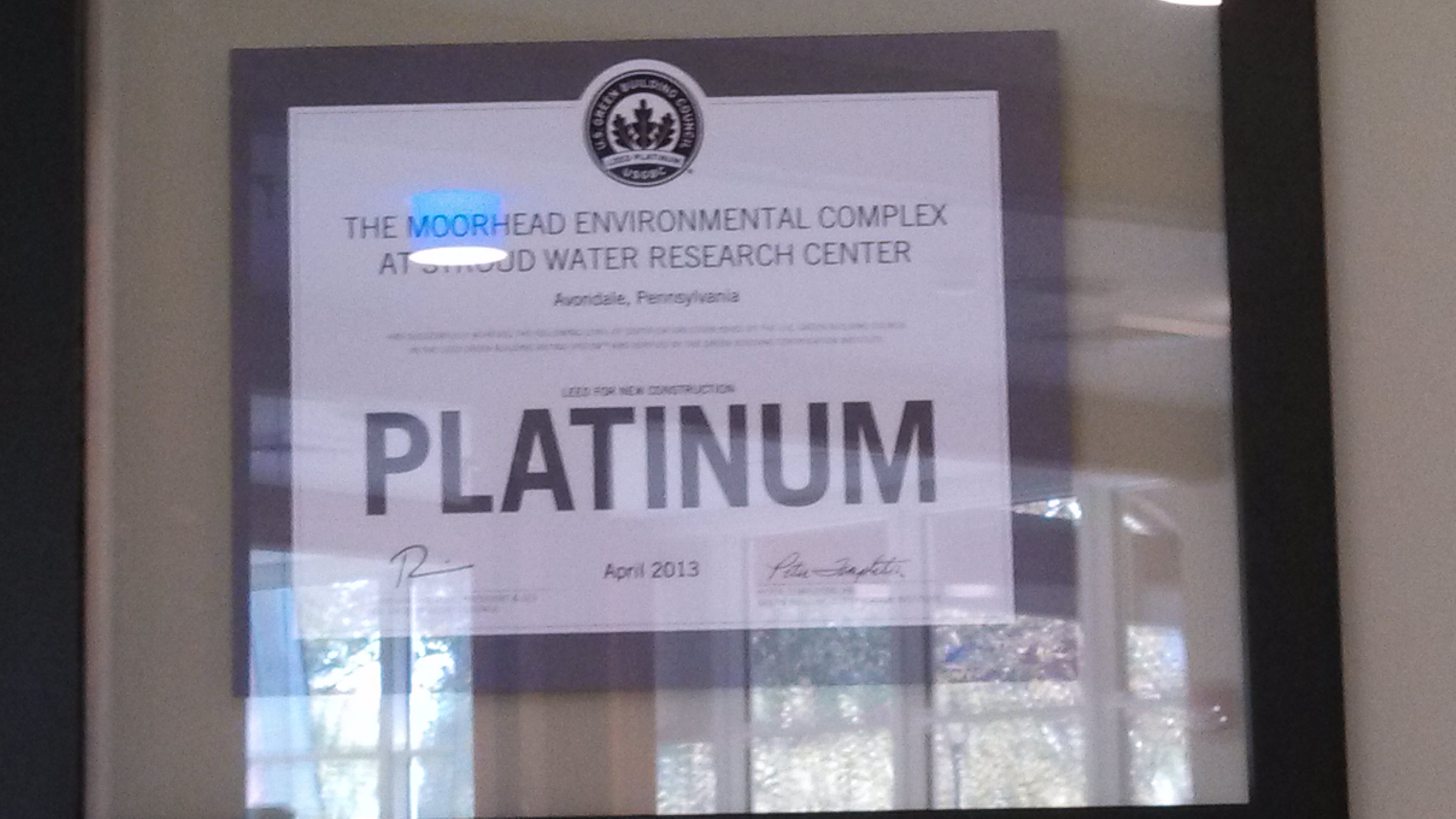 Moorhead Environmental Complex LEED plaque